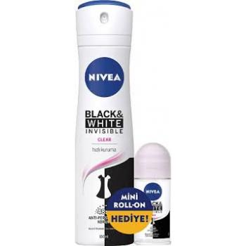 Nivea Invisible Black & White Clear Kadın Deodorant 150 ml + Mini Roll-on 25 ml