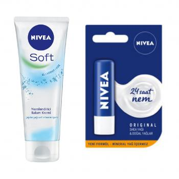 Nivea Soft El ve Vücut Kremi 75 ml + Lip Essential 4,8 gr